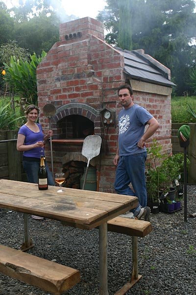Backyard Brick Pizza Oven brick oven with temperature gauge
