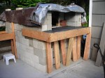 The oven concrete hearth casting in the front