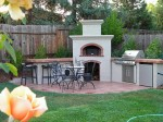 Outdoors kitchen, eating and entertaining area.