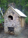Pizza oven built from stones.