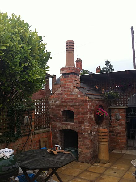 Recycled Clay Bricks Used In Building Pizza Oven