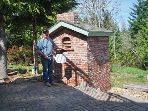 Brick oven built in a steep ground slope