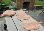 Few pizza paddles cut out from plywood