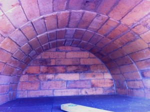 Oven inside from reclaimed bricks