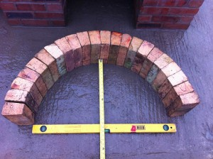 Arch from reclaimed firebricks