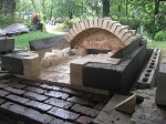 Beautiful Oven With Matching Flagstone Fireplace