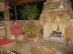 Flagstone fireplace structure with firebrick lining