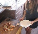 Slicing and serving pizzas