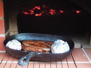 Sausages and potatoes cooked perfectly