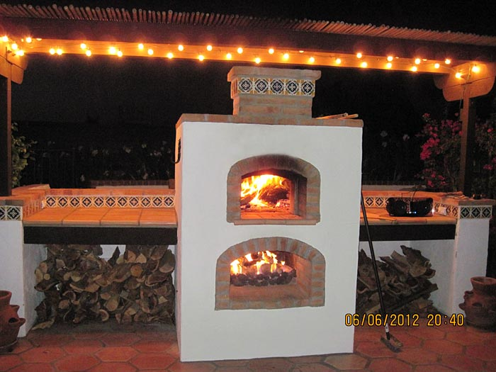Brick Oven And Gas Fireplace