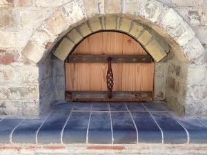 Bricks with wooden door