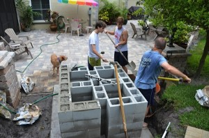 Filling blocks with concrete