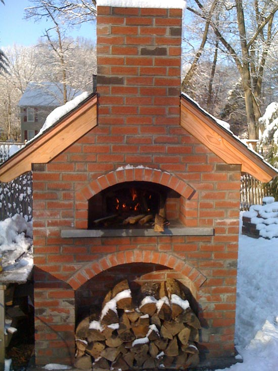 Oven in winter covered with snow.