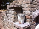Natural granite and bricks in walls