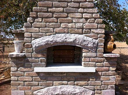 Granite arch in brick walls