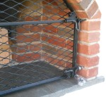 Detail of lockable oven door gate