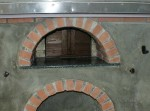 front oven wall and wooden door