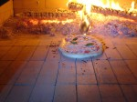 Pizza inside fire hot oven