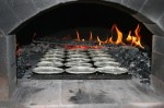 Pie pastry in brick oven