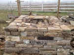 Walls from stones before the hearth