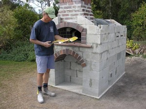 Wood fired oven outside from blocks